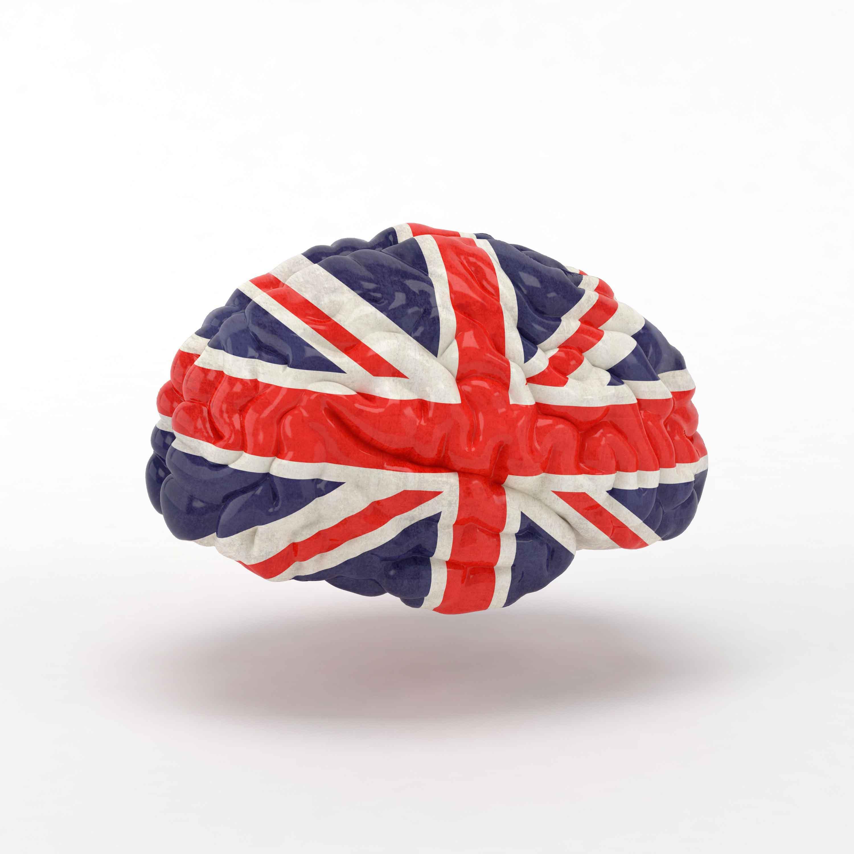 Cerebro con la bandera inglesa