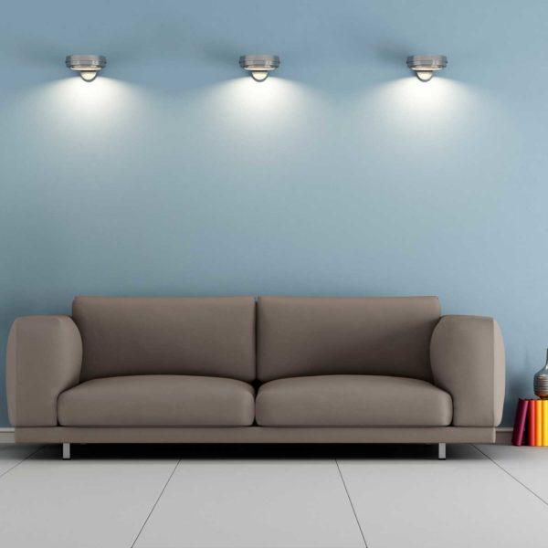 Montaje 3d de sala de estar iluminada